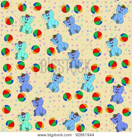 Seamless Pattern Whith Elephants And Beach Balls
