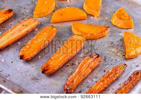 roasted pumpkin and carrot on well used oven baking tray