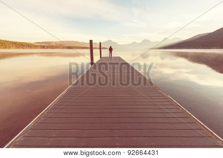Pier on Mcdonald lake,Glacier NP,USA,Montana