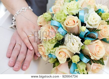 Hand of the groom and the bride with wedding rings at a wedding party