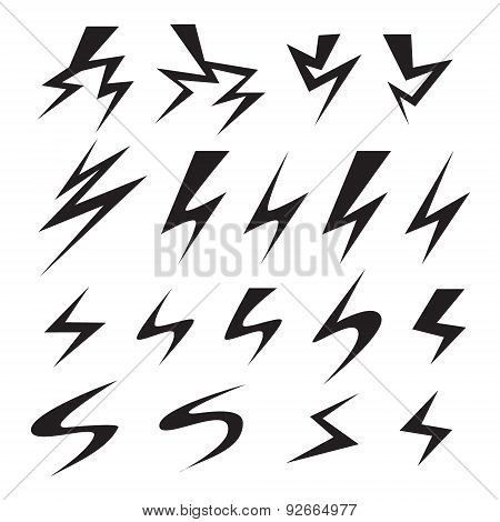 Set of Lightning bolt icon