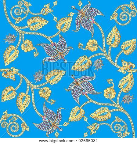 background with gold ornaments and precious stones