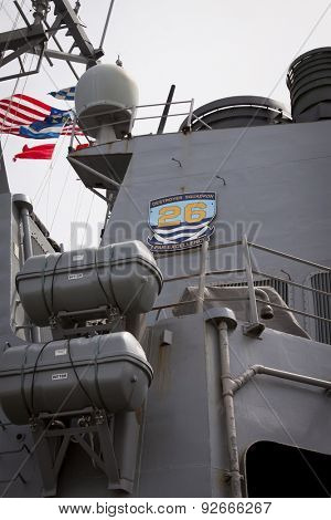 STATEN ISLAND, NY - MAY 20 2015: Low angle view of the guided-missile destroyer USS Barry (DDG 52) moored during Fleet Week NY at Sullivans Pier.
