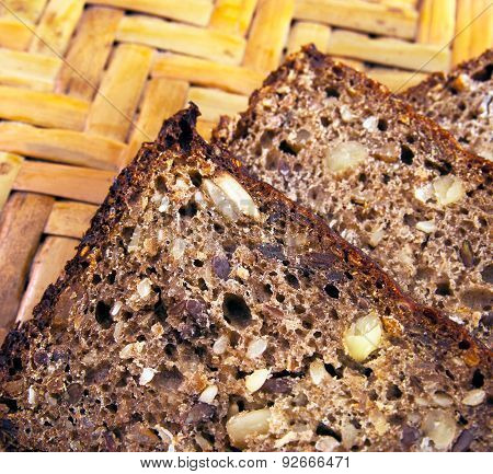 Slice of the bread with seeds