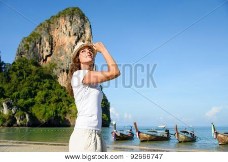 Woman At Krabi Beach In Thailand