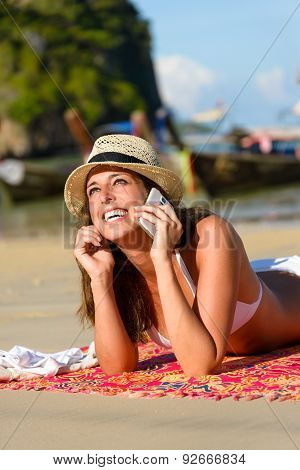 Woman With Smarthphone At Thailand Beach