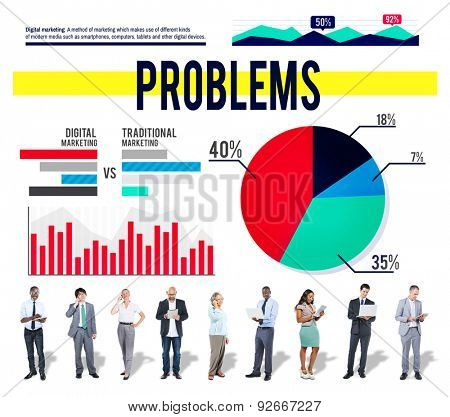 Problems Drawback Difficulty Mistake Business Concept