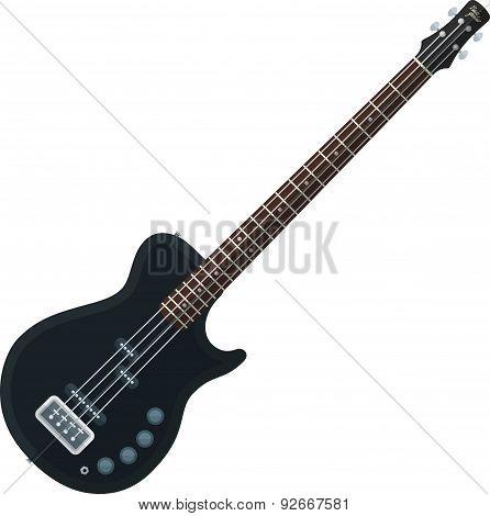 Flat Style Black Electric Bass Guitar Illustration