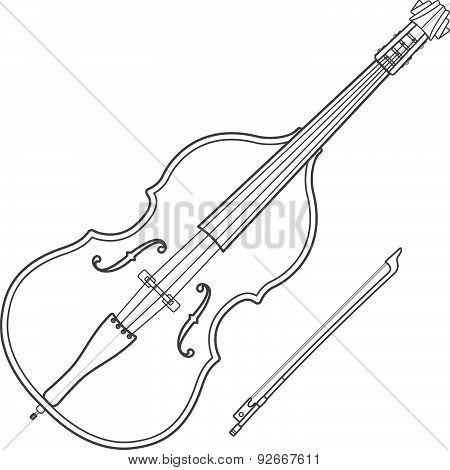Dark Contour Contrabass Music Instrument Illustration.