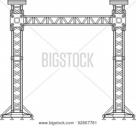 Dark Contour Truss Tower Lift Construction Illustration .
