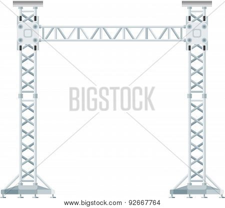 Colored Flat Style Truss Tower Lift Construction Illustration .