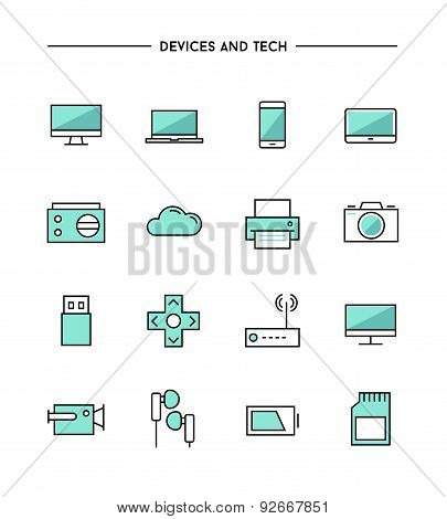 Set Of Thin Line Flat Devices And Tech Icons