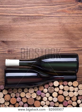 Glass Bottles Of Wine With Corks