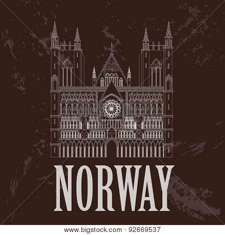 Norway landmarks. Retro styled image