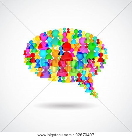 Chat Bubble Colorful People Vector Illustration
