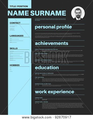 Vector minimalist CV / resume template with nice typography design
