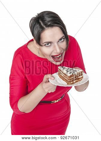 Beautiful Plus Size Woman Eating Cake