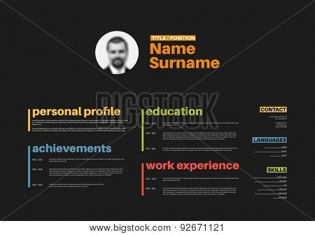 Vector minimalist CV / resume template with nice typography design - horizontal colorful version