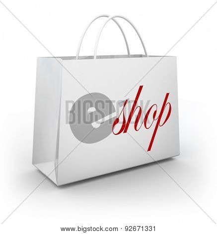e-Shop words on a white bag to illustrate an online or digital store selling products and merchandise with special sale, discount, offers or coupons
