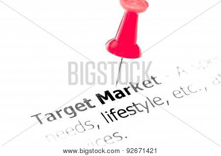 Words Target Market Pinned On White Paper With Red Pushpin