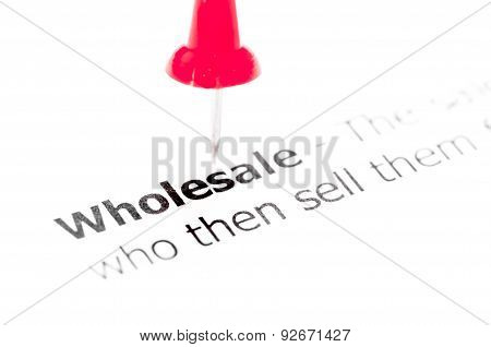 Word Wholesale Pinned On White Paper With Red Pushpin