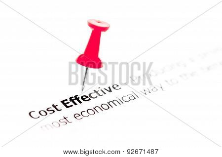 Words Cost Effective Pinned On White Paper With Red Pushpin