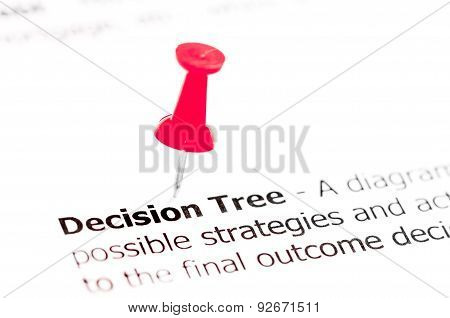 Words Decision Tree  Pinned On White Paper With Red Pushpin