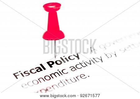Words Fiscal Policy Pinned On White Paper With Red Pushpin
