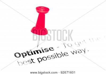 Word Optimise Pinned On White Paper With Red Pushpin
