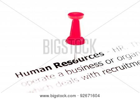 Words Human Resources Pinned On White Paper With Red Pushpin