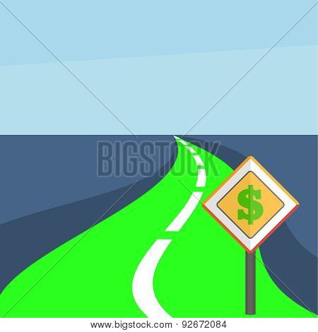 Winding Road With A Dollar Sign