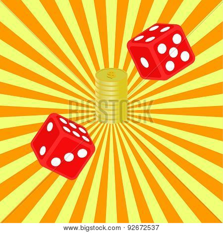 Dice And Coins On A Radiant Background