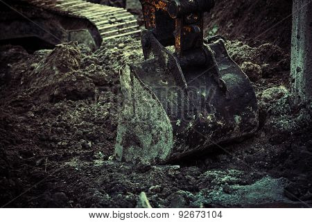 Excavator Bucket Closeup .excavation, Channel