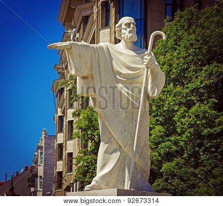 Saint Andrew Statue Mikhaylovsky Square Kiev Ukraine. Saint Andrew Christ's Disciple Is The Patron S