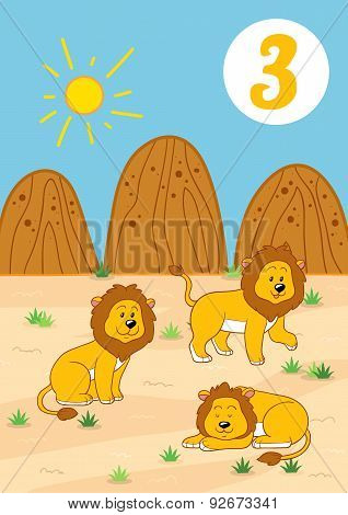 Three Cute Lions: Easy Learn To Count