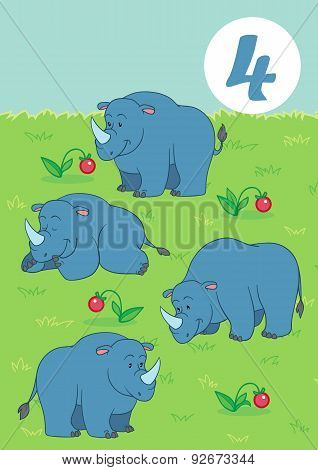 Four Cute Rhino: Easy Learn To Count