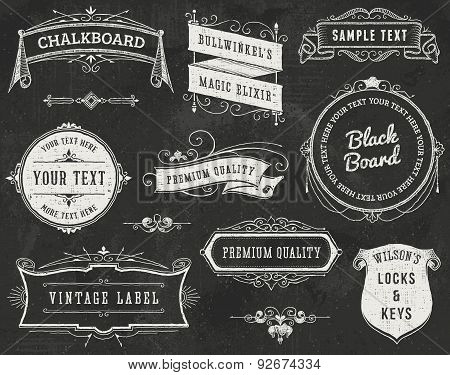 Chalkboard Vintage Labels and Ribbons
