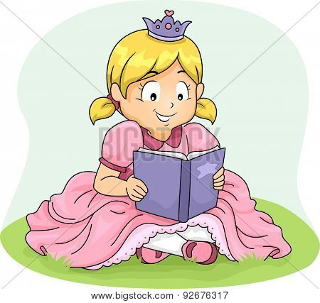 Illustration of a Girl Wearing a Princess Costume Reading a Book