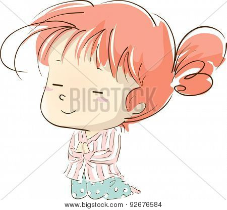 Illustration of a Little Girl in Pajamas Kneeling While Praying