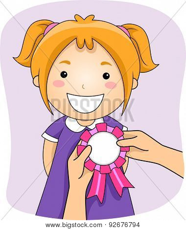 Illustration of a Girl with a Ribbon Being Pinned on Her