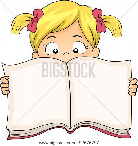 Illustration of a Little Girl Spreading a Book Wide Open