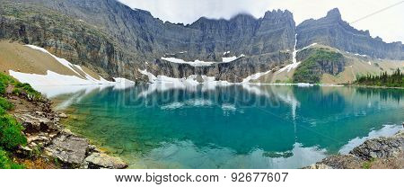 Panoramic View Of The Iceberg Lake Glacier In Glacier National Park
