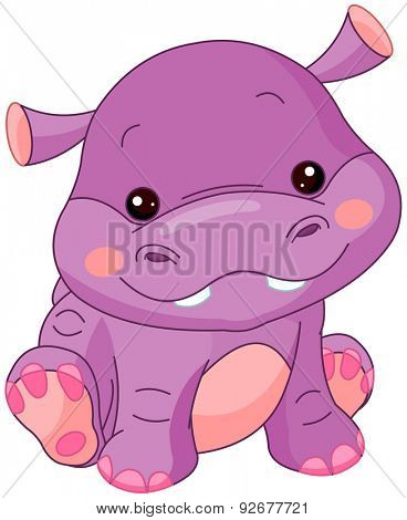 Illustration of cute Hippo