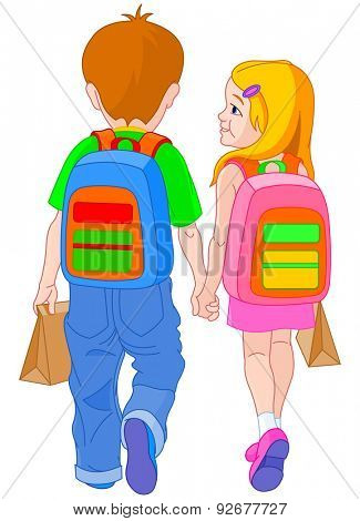Illustration of girl and boy go to school