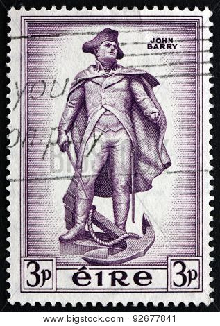 Postage Stamp Ireland 1954 Statue Of John Barry