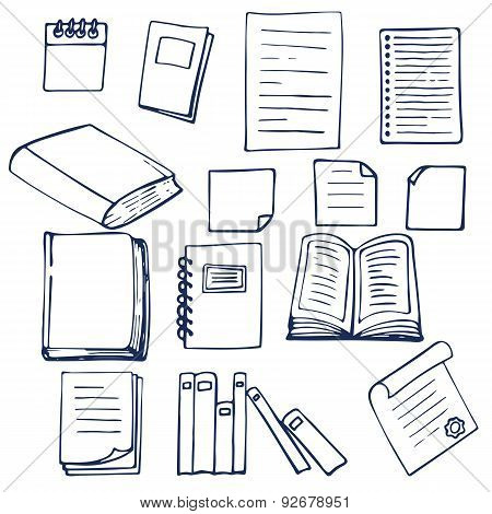 Hand Drawn Book, Documents, Notebook And Sheets Of Paper