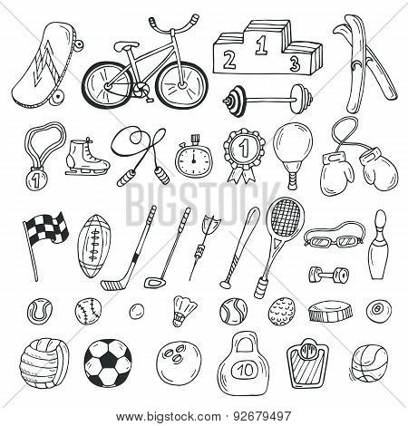 Hand Drawn Sport Icon Set. Fitness And Sport