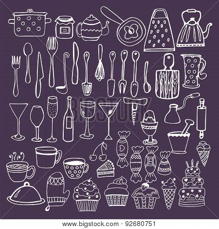 Set Of Hand Drawn Kitchen Equipments. Kitchen Utensils Collection