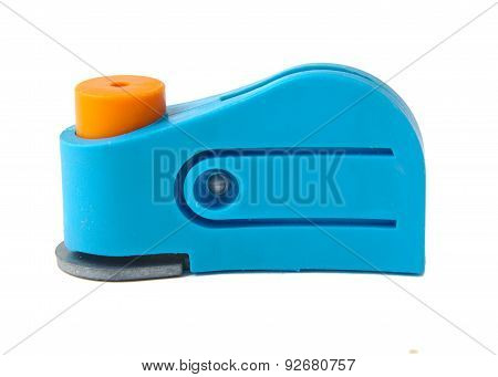 Blue plastic hole puncher isolated on a white background