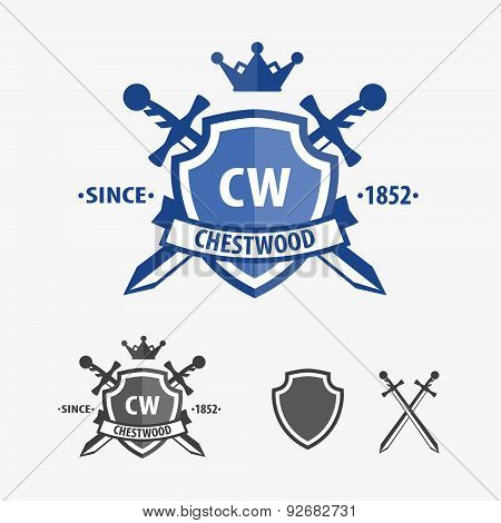 Retro sword badges and shields logo design elements
